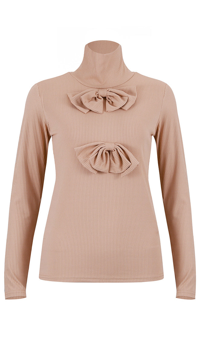 Always Posh Rib Knit Bow Turtleneck Long Sleeve Pullover Sweater - 3 Colors Available