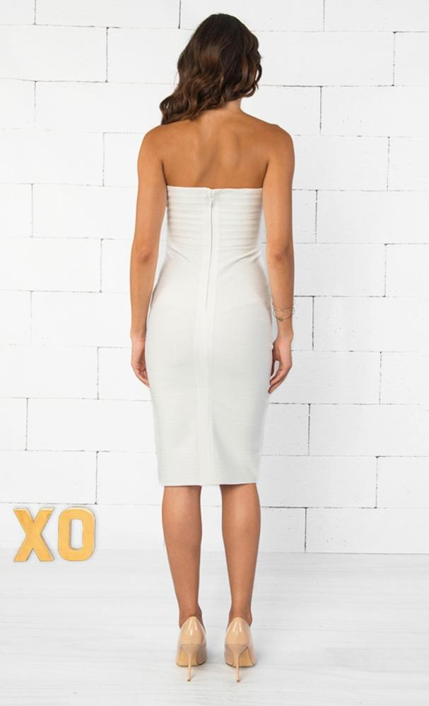 Indie XO Allison White Strapless Ribbed Texture Sweetheart Neck Bandage Bodycon Knee Length Midi Dress - Just Ours! - Sold Out