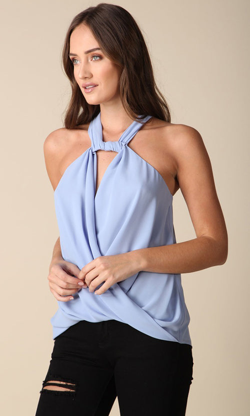 You've Got Me Sleeveless Twist Halter Wrap Tank Top Blouse - 3 Colors Available