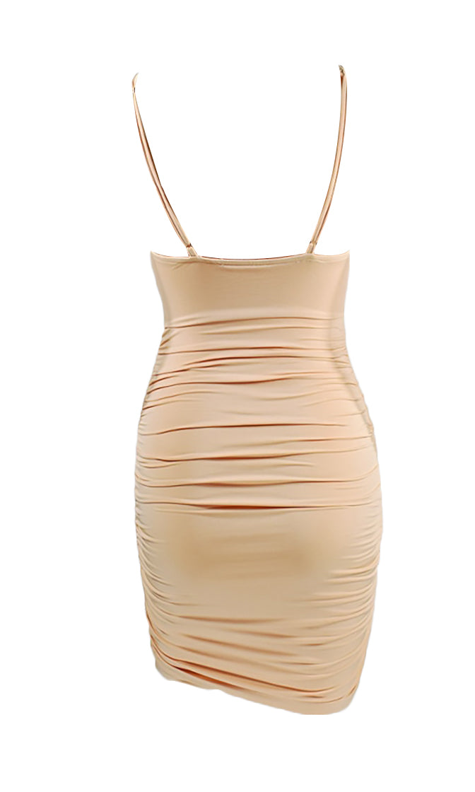 Breaking Ground Sleeveless Spaghetti Strap Ruched Twist Knot V Neck Bodycon Mini Dress - 2 Colors Available