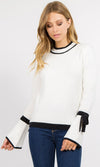 Let's Get Started Ribbed High Neck Contrast White Black Long Bell Sleeve Ribbon Tie Crew Neck Pullover Sweater