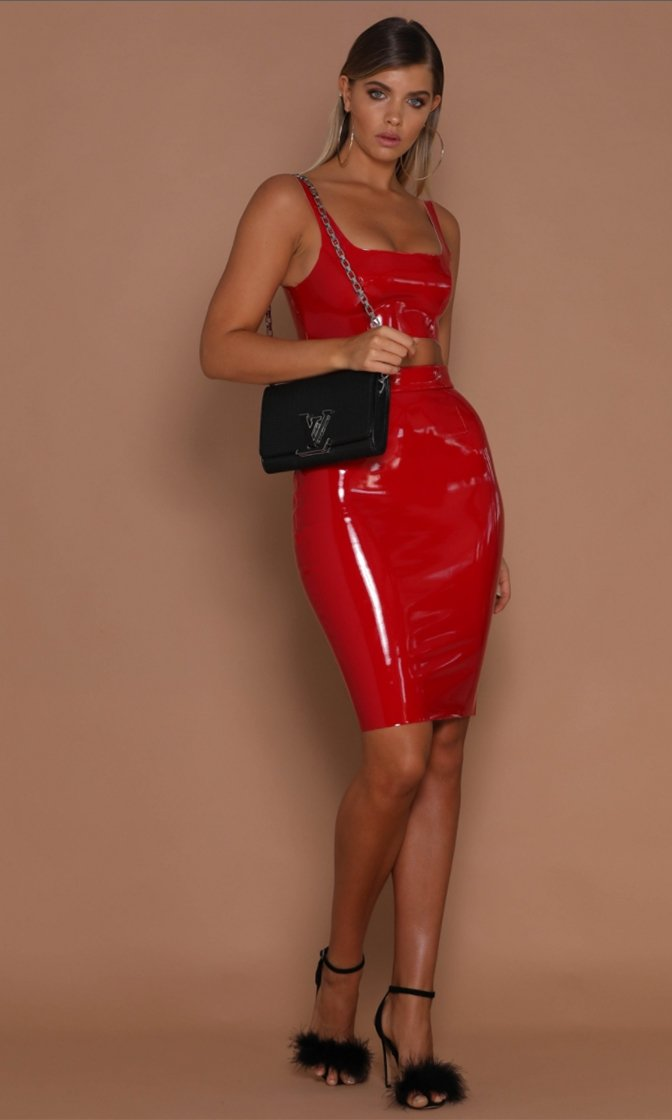 Luscious Lover Red Latex Sleeveless Crop Top High Waist Skirt Bodycon Two Piece Mini Dress
