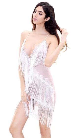 Modern Lover White Nude Fringe Lace Sleeveless Spaghetti Strap Plunge V Neck Halter Bodycon Mini Dress
