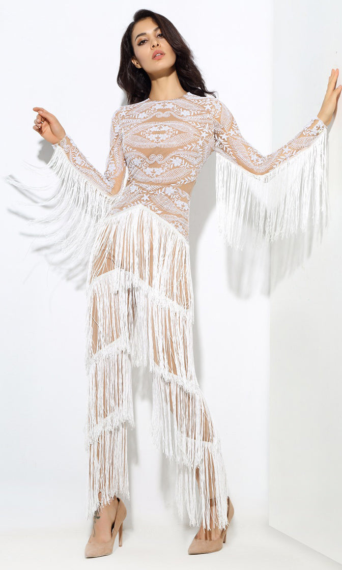 Buzz Worthy White Nude Glitter Sheer Mesh Lace Fringe Tassel Long Sleeve Crew Neck Jumpsuit