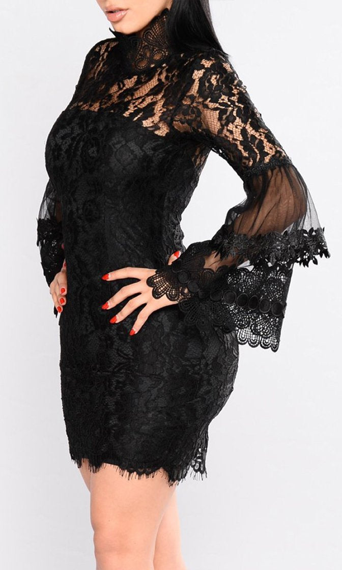 Midnight Mystery Black Sheer Lace Long Flare Sleeve Mock Neck Bodycon Mini Dress - Sold Out