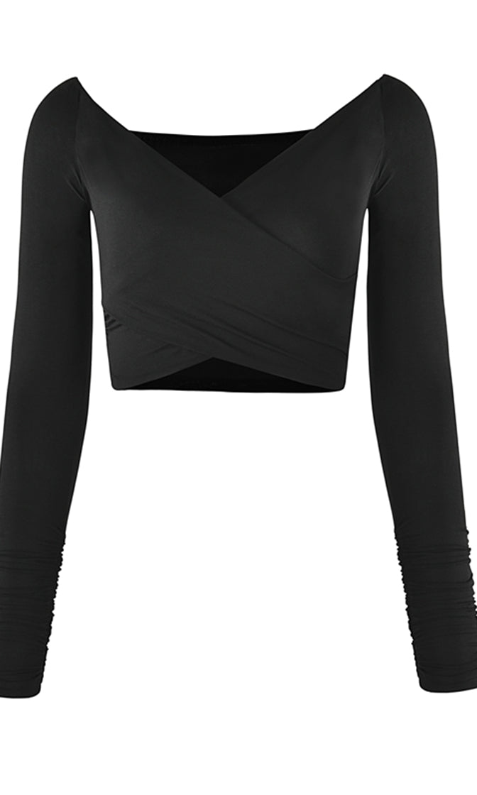 Everyday Affair Long Sleeve Ruched Off The Shoulder Wrap V Neck Crop Top - 3 Colors Available