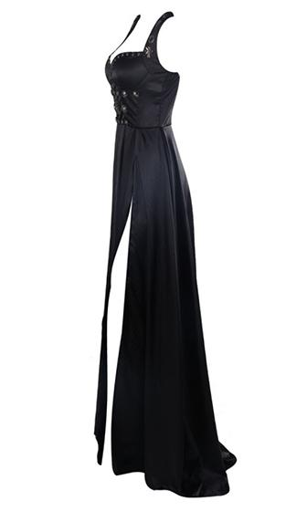 Let Me Go Black Sleeveless Bustier Studded High Slit Maxi Dress