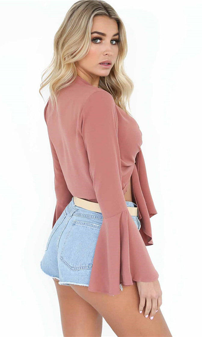 Good Karma Pink Chiffon Long Flare Sleeve Deep V Neck Tie Front Crop Top Blouse