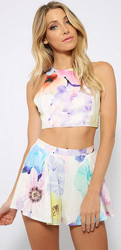 Call of the Wild White Pink Purple Blue Yellow Floral Sleeveless Scoop Neck Crop Halter Top Pleated Shorts Two Piece Romper