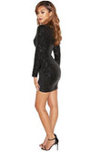 Just My Type Black Sequin Long Sleeve V Neck Tulip Bodycon Mini Dress - Sold Out
