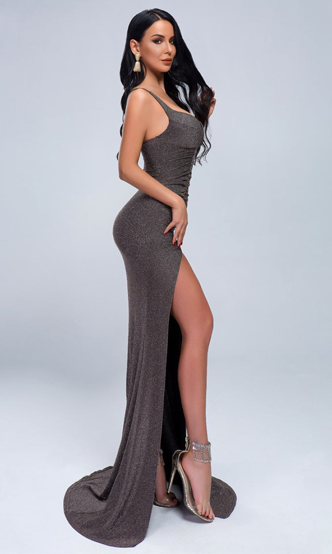 Special Times Grey Glitter Sleeveless V Neck Ruched High Slit Train Maxi Dress