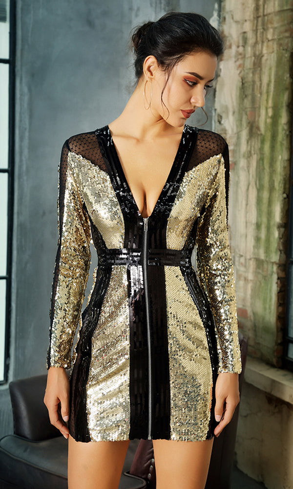 212afb6ac7b Give Me Space Gold Black Sequin Sheer Mesh Patchwork Long Sleeve Plunge V  Neck Zip Front