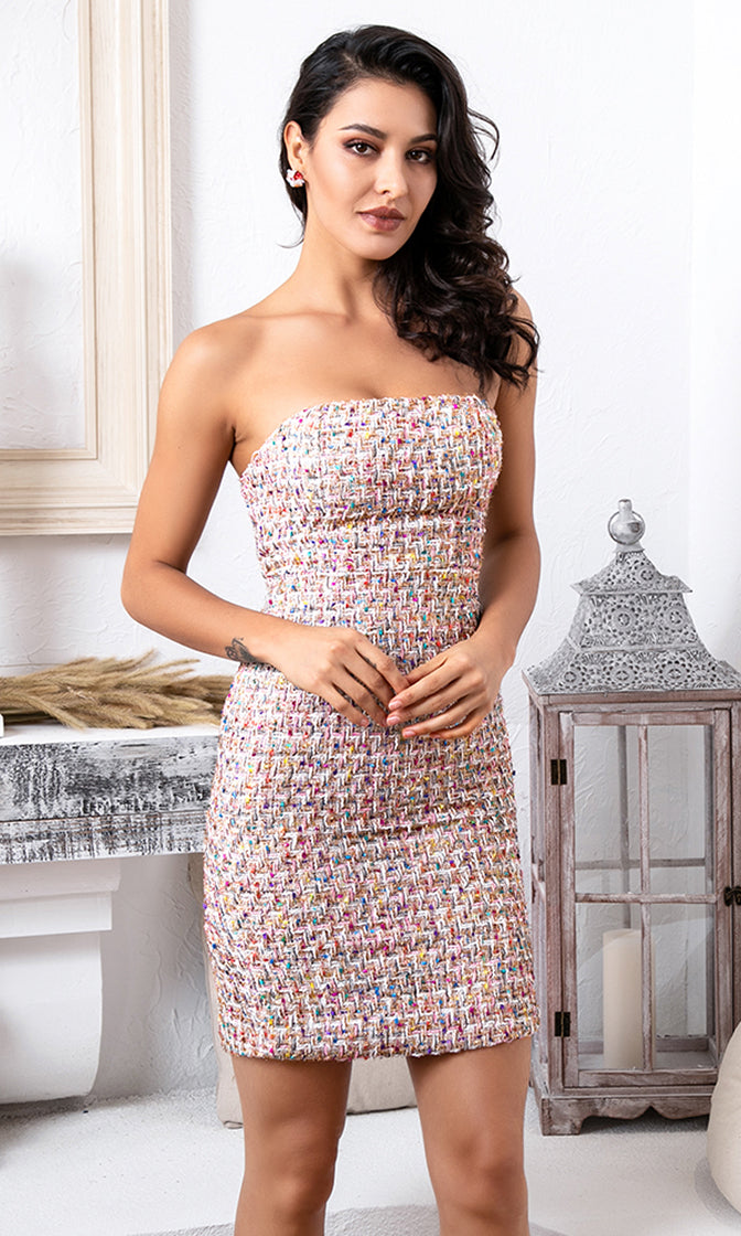 Always Hot Multicolor Tweed Strapless Bodycon Mini Dress