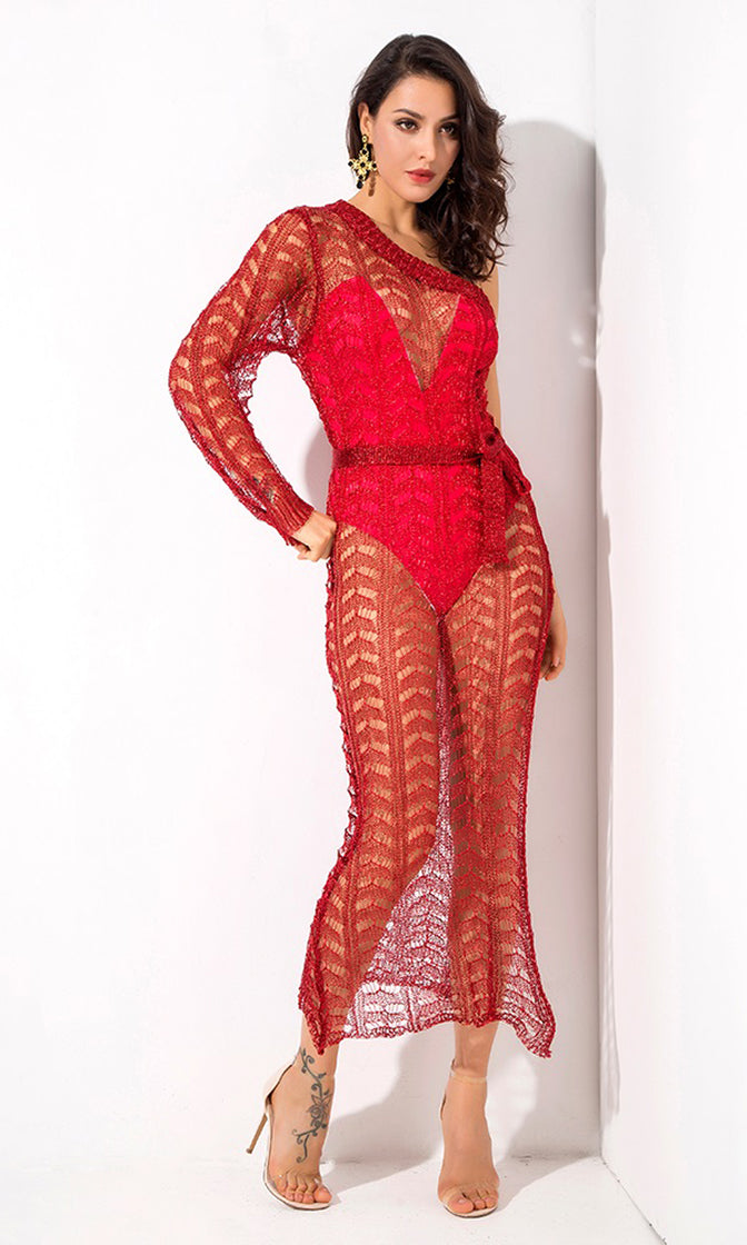 Having It My Way Red One Shoulder Long Sleeve Sheer Mesh Cut Out High Slit Casual Maxi Dress