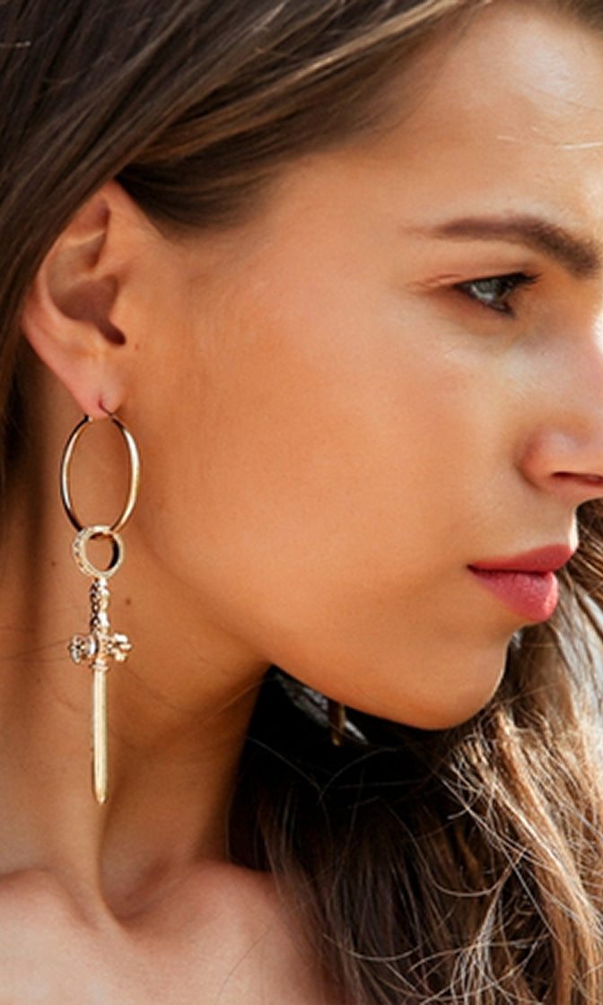 Praying For Keeps Gold Dangle Hoop Cross Earrings - Sold Out