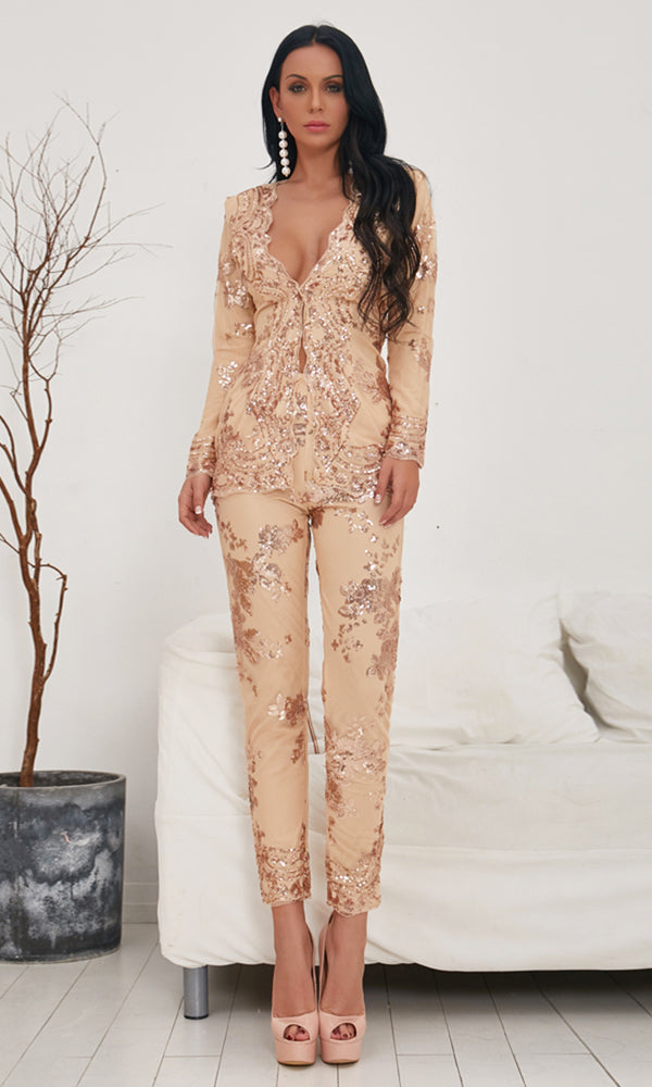 21f5527d1c5 I ll Be Famous Sequin Floral Pattern Long Sleeve Plunge V Neck Button  Jacket Outerwear
