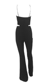 Truth Be Told Black Sleeveless Spaghetti Strap Cross Strap Keyhole Cut Out Waist Flare Leg Jumpsuit