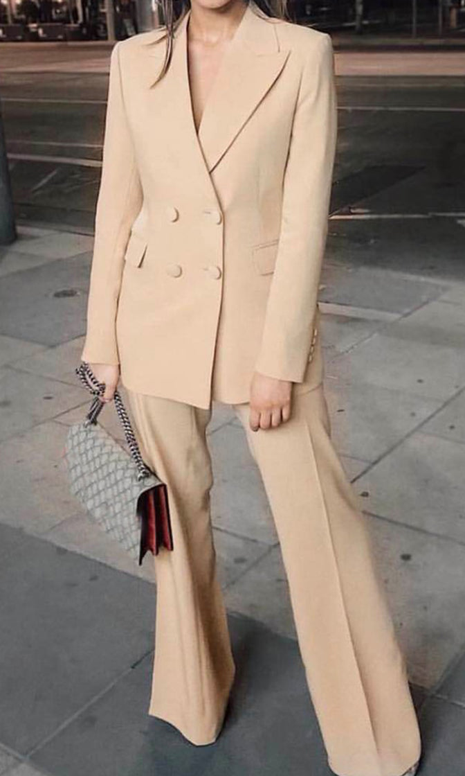 Super Woman Beige Long Sleeve Double Breasted Blazer Jacket Wide Leg Pant Suit Two Piece Jumpsuit