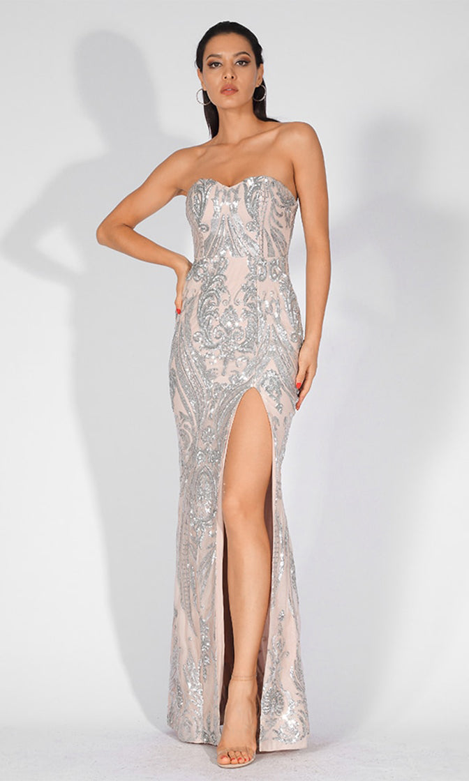 Mystic Lover Nude Silver Sequin Geometric Pattern Strapless High Slit Maxi Dress