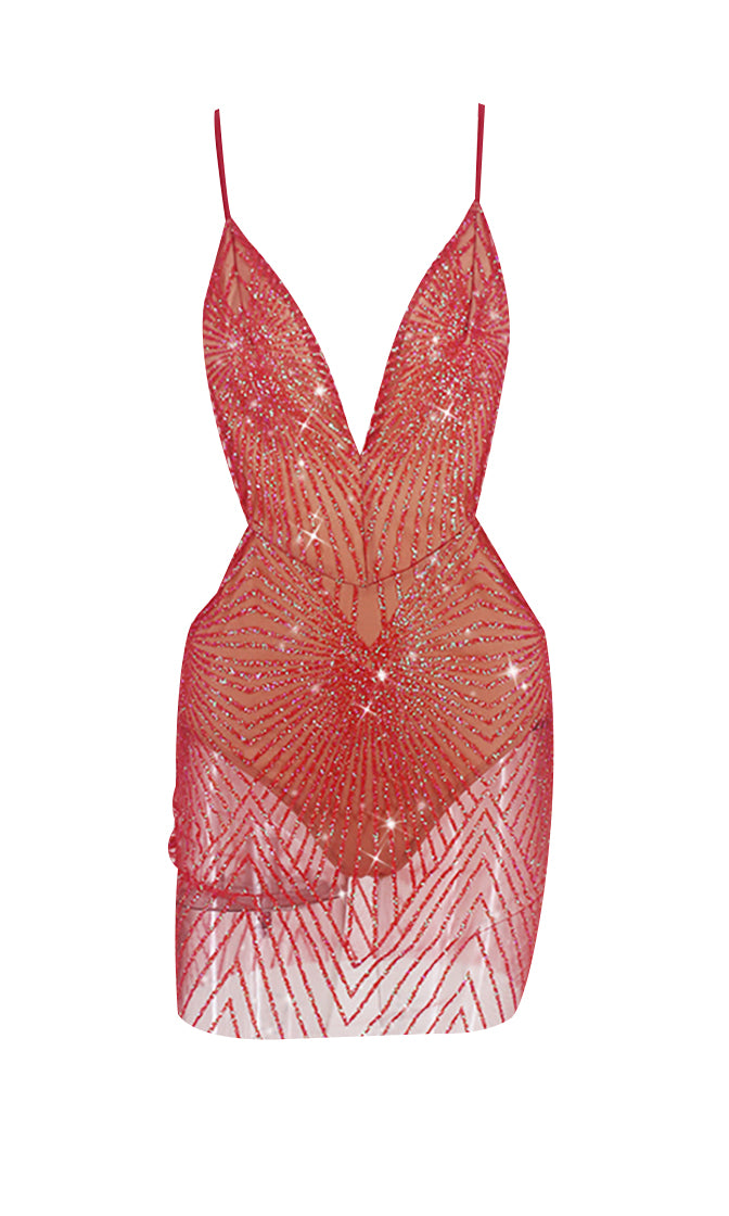 In The Moonlight Geometric Glitter Pattern Sheer Mesh Sleeveless Spaghetti Strap Backless V Neck Bodycon Mini Dress - 4 Colors Available