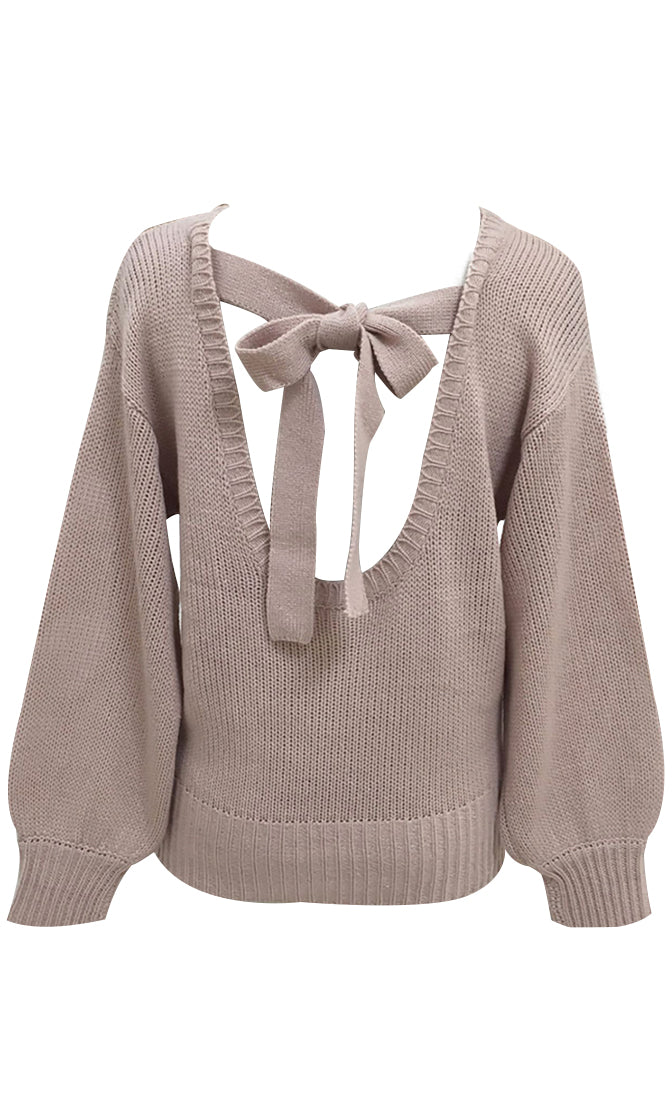 Loving Life Brown Long Sleeve Chunky Crew Neck Backless Bow Pullover Sweater