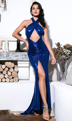 Hold Back The Night Rose Gold Metallic Lame Sleeveless Wrap Backless Halter Cut Out Ruched Slit Maxi Dress