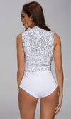 After Work White Silver Sequin Sleeveless Plunge V Neck Bodysuit Top