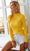 September Morning Long Sleeve Ribbed Mock Neck Rivet Trim Pullover Sweater - 4 Colors Available