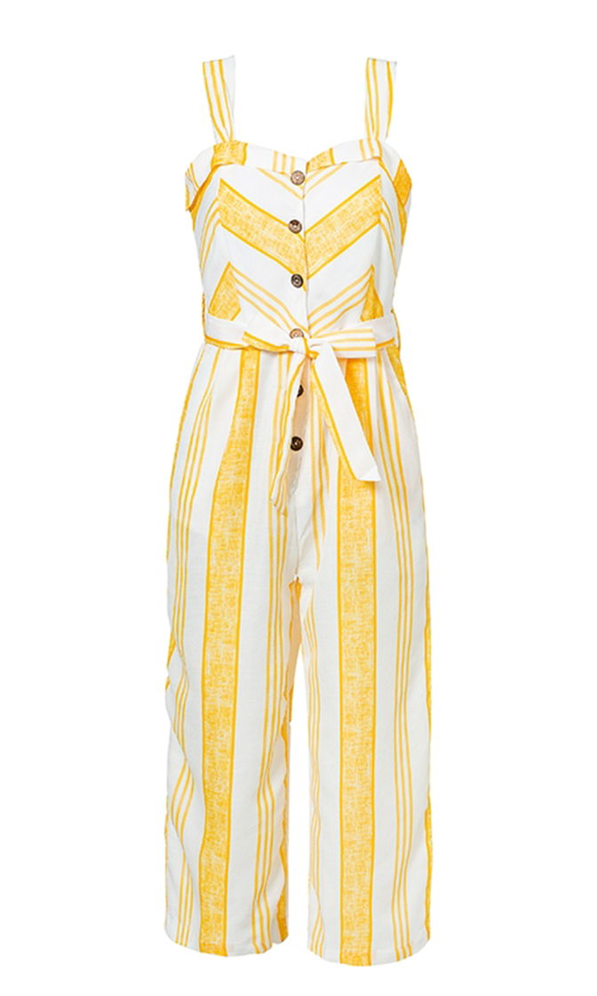 Hamptons Here I Come Yellow White Stripe Pattern Sleeveless Button Wide Leg Loose Jumpsuit