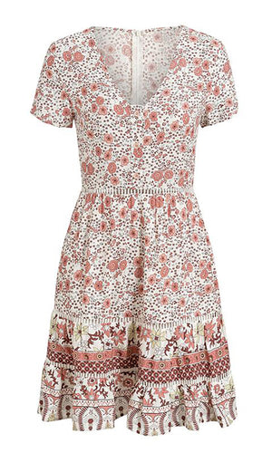 Big Sur White Red Floral Pattern Short Sleeve V Neck Flare A Line Ruffle Casual Mini Dress