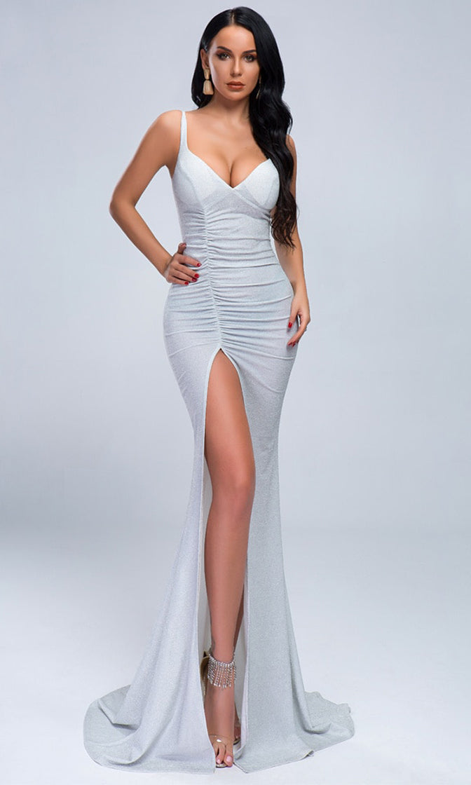 Special Times Light Silver Glitter Stretch Lurex Sleeveless V Neck Ruched High Slit Train Maxi Dress