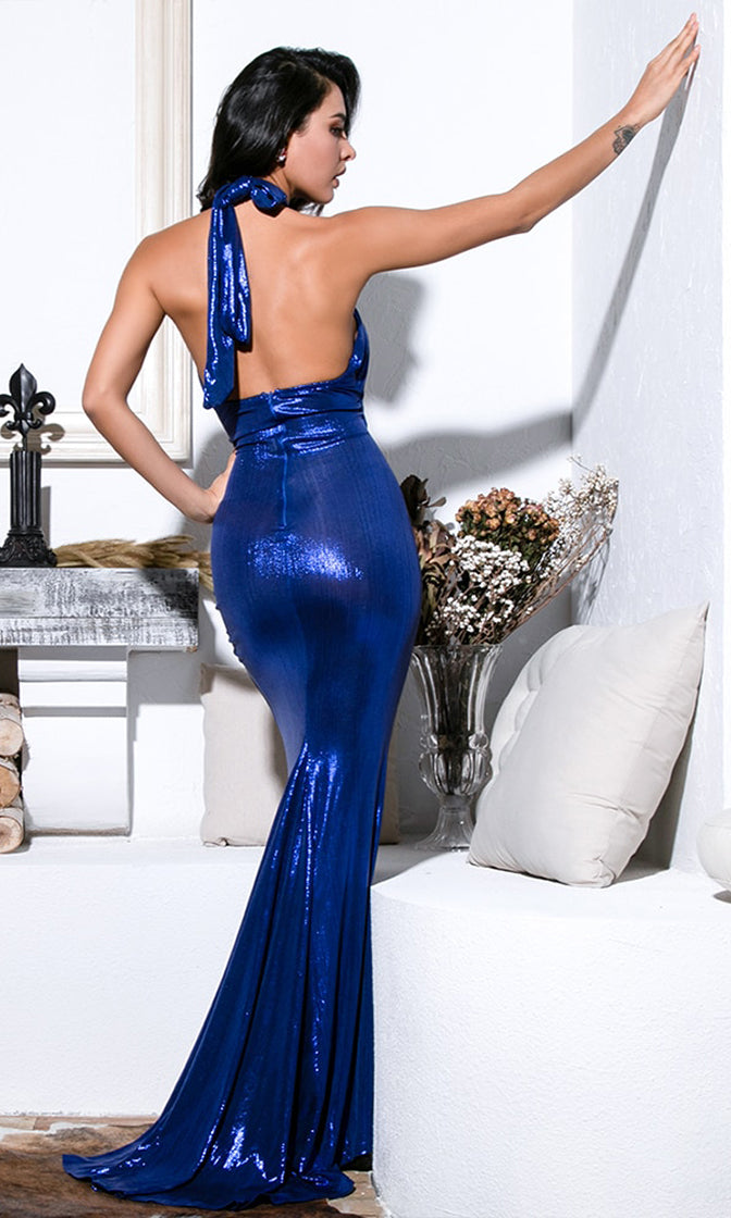 Hold Back The Night Blue Metallic Lame Sleeveless Cross Wrap Backless Halter Cut Out Waist Ruched High Slit Maxi Dress