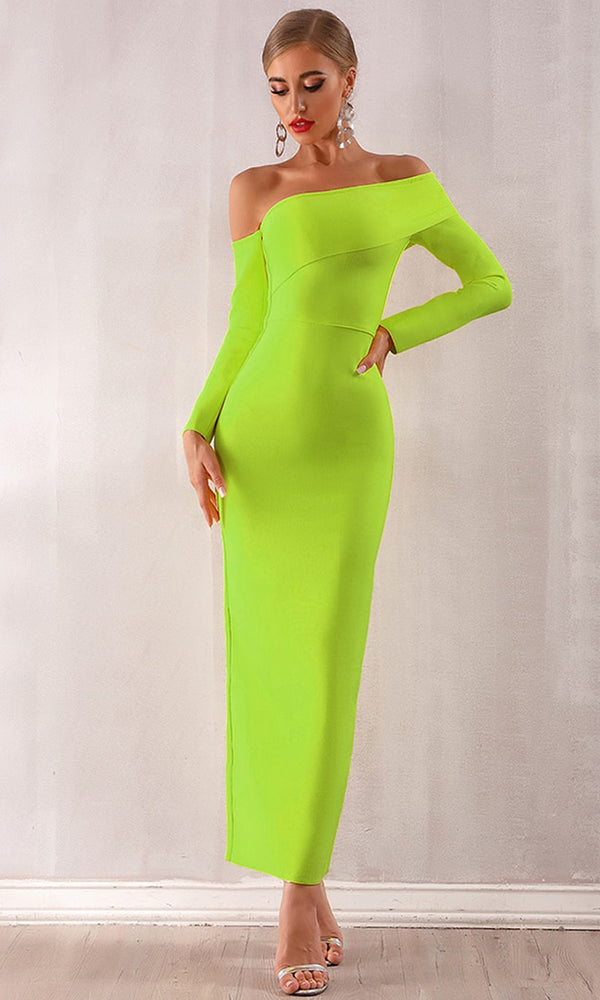 2031c909619 Bright Moment Long Sleeve Off The Shoulder Fold Over Bodycon Bandage Maxi  Dress - 2 Colors