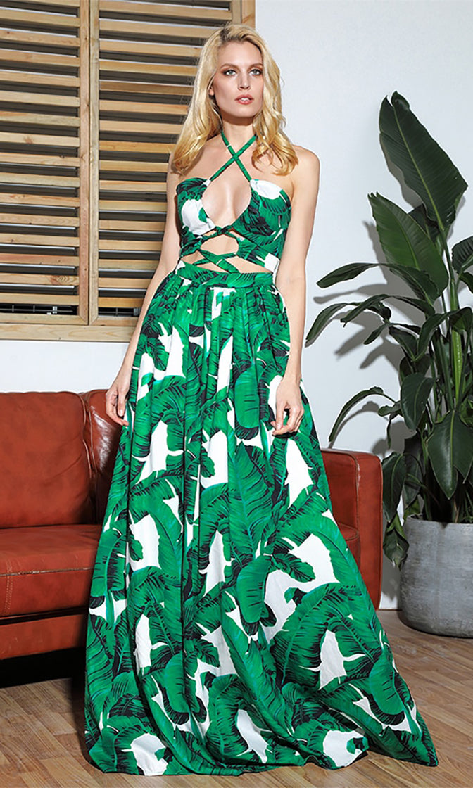 Wouldn't It Be Nice Green White Leaves Tropical Pattern Sleeveless Crisscross Spaghetti Strap Halter Lace Up Cut Out Waist A Line Maxi Dress