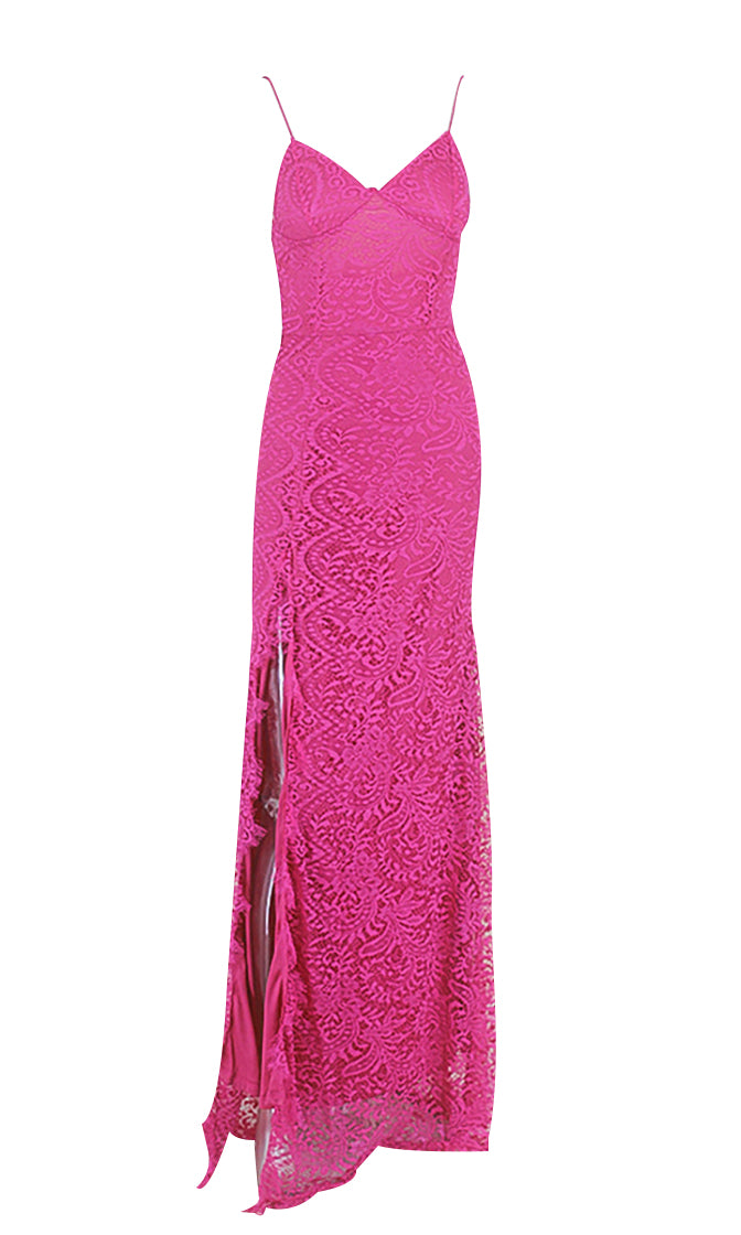 Fancy Pants Lace Sleeveless Spaghetti Strap V Neck High Slit Bodycon Maxi Dress - 4 Colors Available