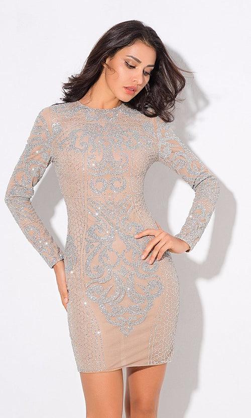 Subtle Nuance Silver Nude Geometric Glitter Beading Long Sleeve Round Neck Bodycon Mini Dress