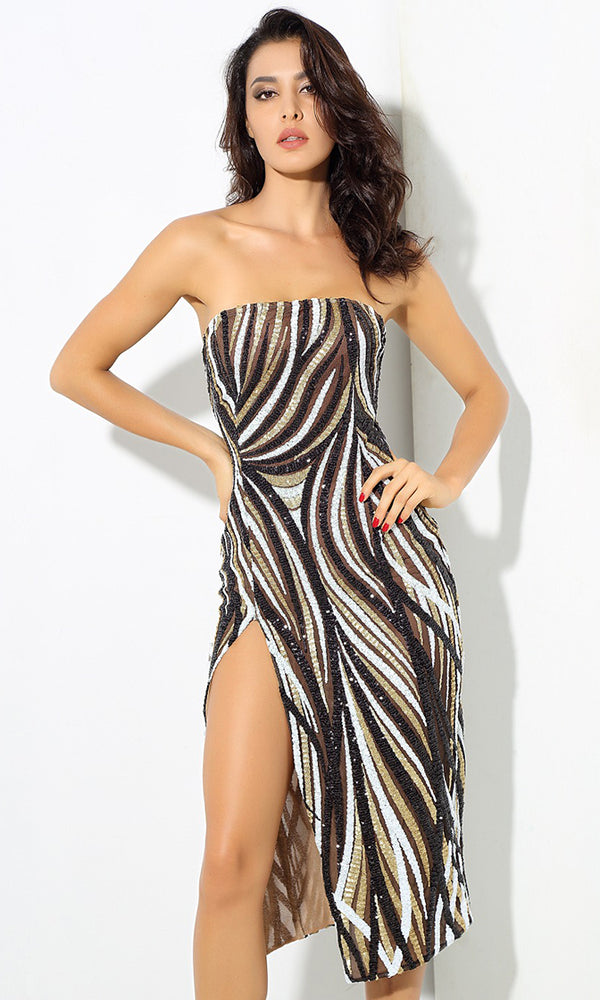 Wild Eyes Black White Gold Sequin Geometric Pattern Strapless Side Slit Midi Dress