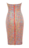 Elegant Moment Multi Tweed Plaid Pattern Strapless Bodycon Midi Dress - Sold Out