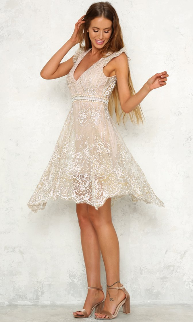 It's Only Love Gold Sheer Mesh Sequin Sleeveless Ruffle Cut Out Back Mini Dress - Sold Out