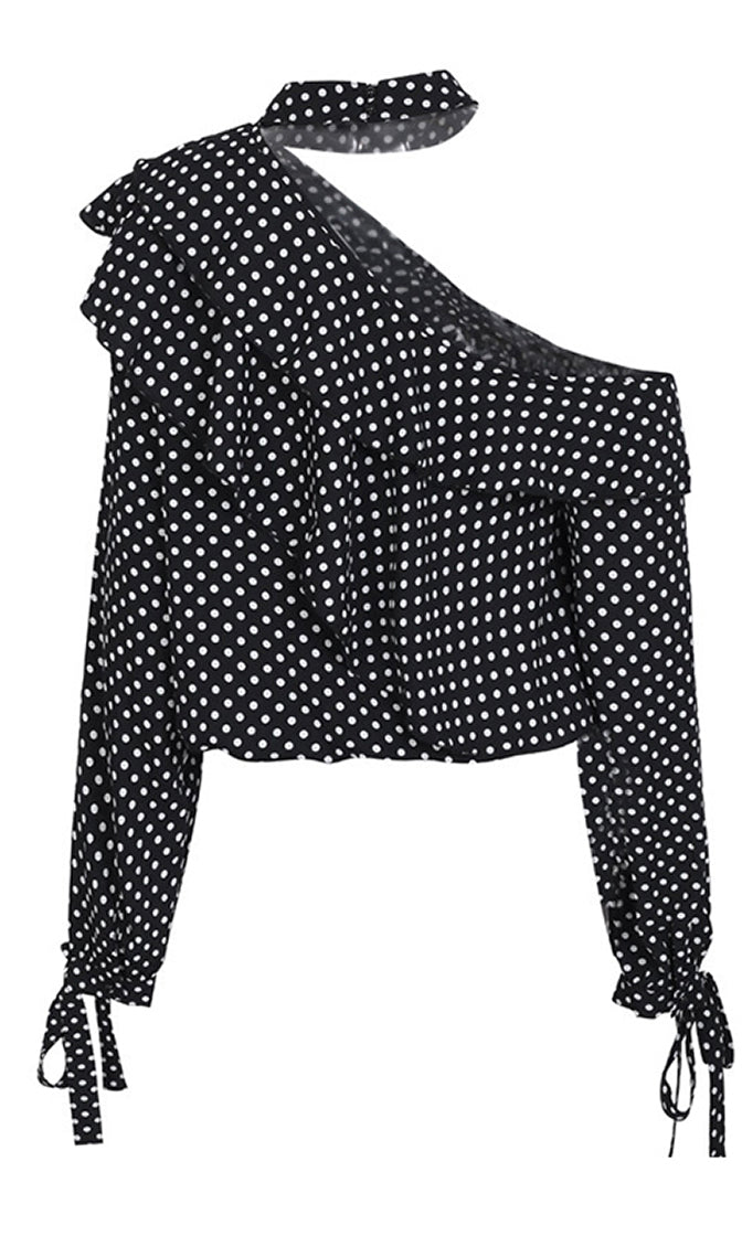 Light My Fuse Polka Dot Pattern Long Sleeve Cut Out Shoulder Mock Neck Ruffle Blouse Top - 2 Colors Available