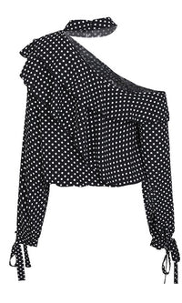 Light My Fuse Polka Dot Pattern Long Sleeve Cut Out Shoulder Mock Neck Ruffle Blouse Top - Sold Out