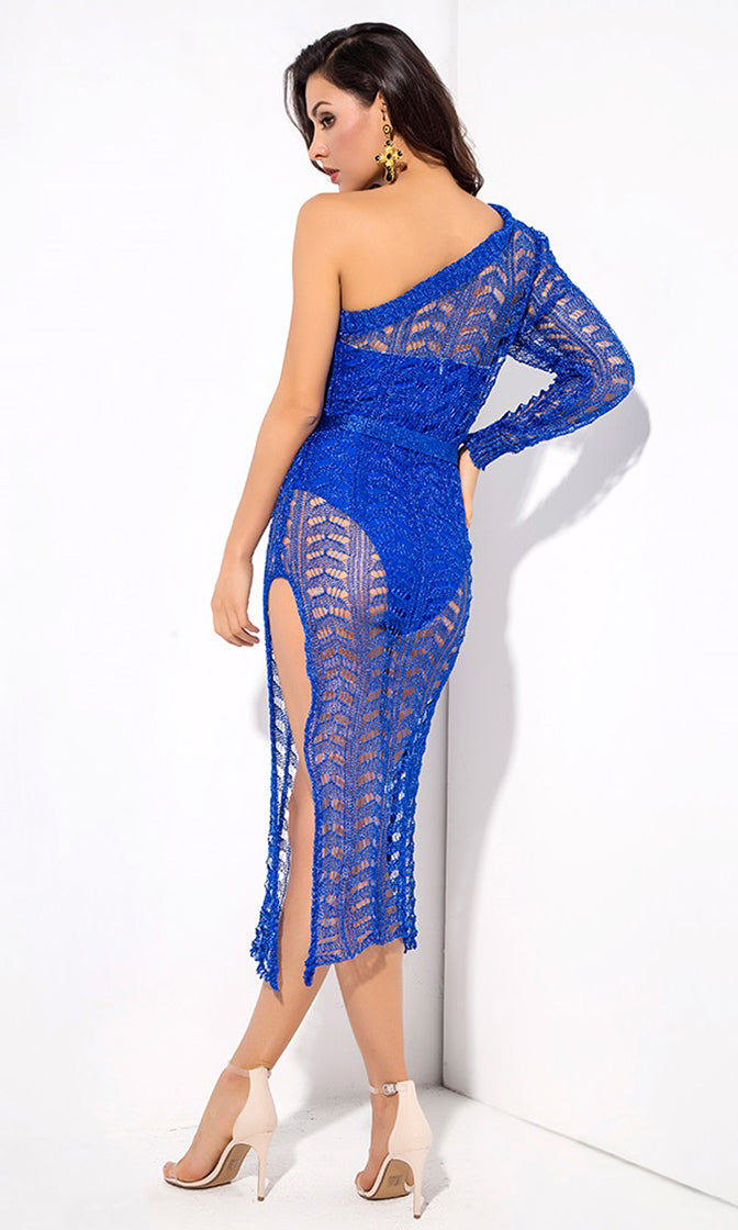 Having It My Way Blue One Shoulder Long Sleeve Sheer Mesh Cut Out High Slit Casual Maxi Dress