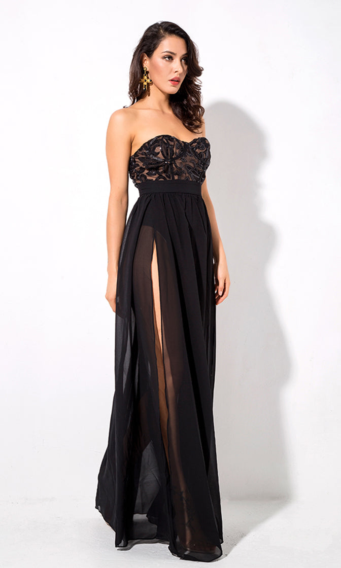 In For A Treat Black Sequin Strapless Sweetheart Neck Sheer Chiffon Double Slit Maxi Dress