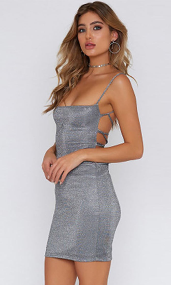 Turn Up The Music Silver Metallic Sleeveless Spaghetti Strap Square Neck Lace Up Cut Out Bodycon Mini Dress