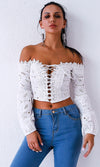 Breaking It Down White Lace Long Bell Sleeve Off The Shoulder Lace Up Crop Top Blouse