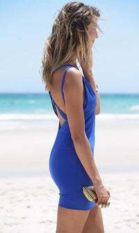 One Night Stand Royal Blue Double Spaghetti Strap Crisscross V Neck Bodycon Mini Dress - Sold out
