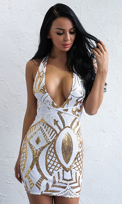 Shining Bright White Gold Sequin Geometric Pattern Sleeveless Halter Backless Plunge V Neck Bodycon Mini Dress