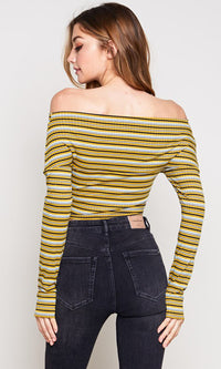 Teen Spirit Stripe Pattern Long Sleeve Cross Wrap V Neck Off The Shoulder Crop Top - 3 Colors Available - Sold Out