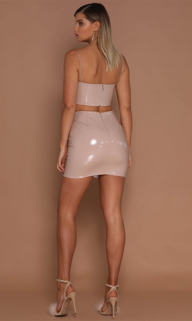 d2134a8ff8b46b Party Ready Nude Faux Leather Vinyl Latex Look Sleeveless Spaghetti Strap  Plunge Lace Up Crop Top