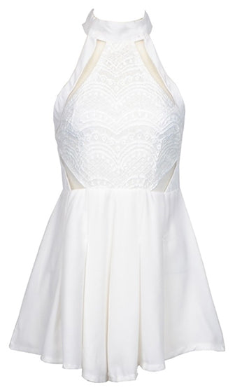 Lying In Wait White Sheer Mesh Lace Sleeveless Halter Mock Neck Romper Playsuit